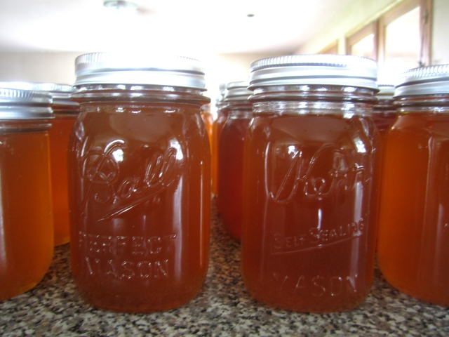 The first jars full of 2013 honey.
